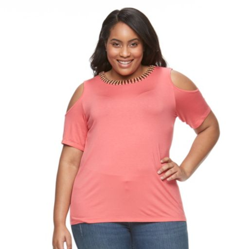Plus Size Design 365 Beaded Cold-Shoulder Top
