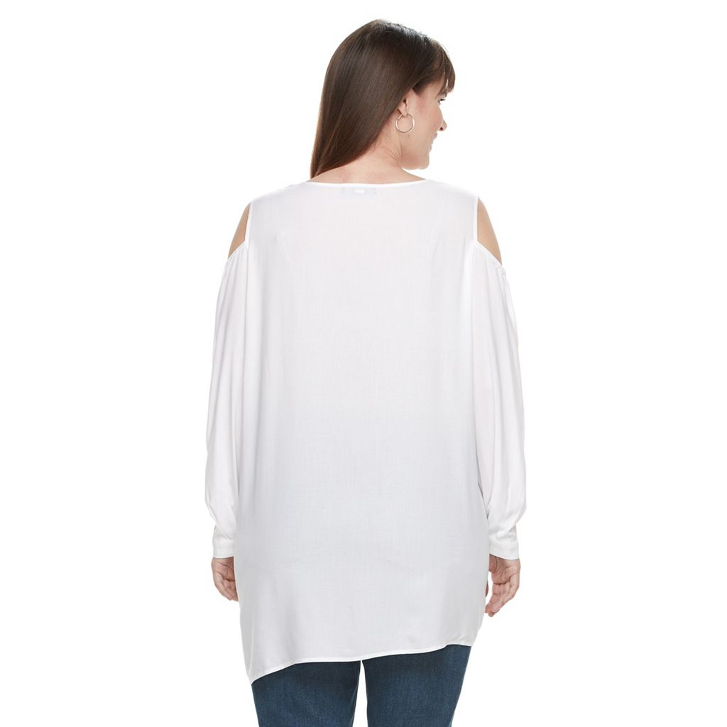 Plus Size Design 365 Tulip Hem Cold-Shoulder Top