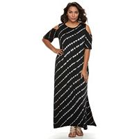 Plus Size Design 365 Tie-Dye Cold Shoulder Maxi Dress