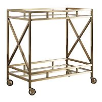 HomeVance Mayra Mirrored Bar Cart