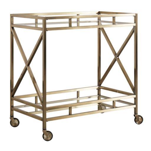 HomeVance Mayra Mirrored Bar Cart