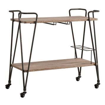 HomeVance Rexan Rustic Industrial Bar Cart