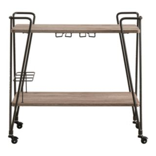 HomeVance Rexan Rustic Industrial Bar Cart