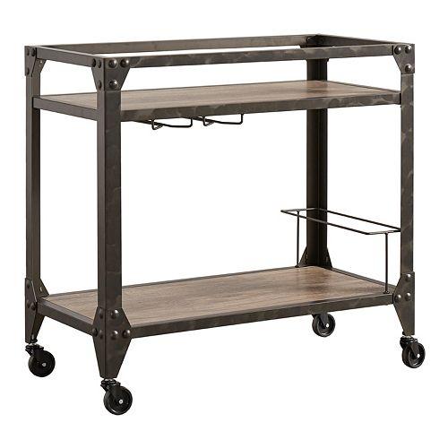 HomeVance Ridge Rustic Industrial Bar Cart
