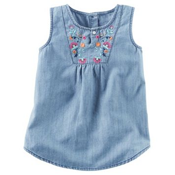 Baby Girl Carter's Floral Embroidery Chambray Tank Top