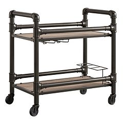 HomeVance Rovan Rustic Industrial Bar Cart