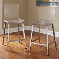 HomeVance Aralia Glam Chrome Counter Stool 2-piece Set