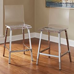 HomeVance Aralia Glam Chrome Counter Stool 2 pc Set