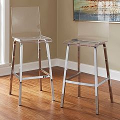 HomeVance Aralia Glam Chrome Bar Stool 2 pc Set