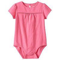 Baby Girl Jumping Beans® Solid Slubbed Pom-Trim Bodysuit