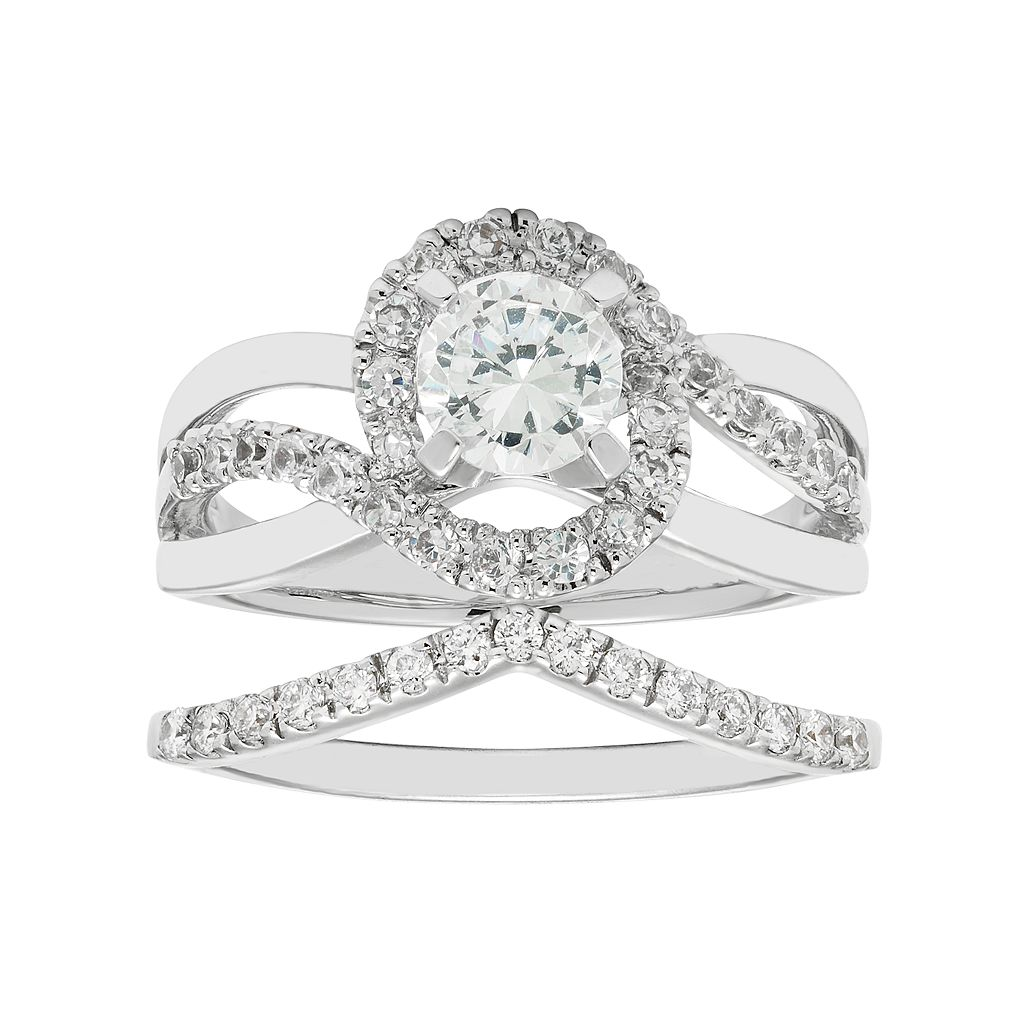 Boston Bay Diamonds 14k White Gold 1 1/6 Carat T.W. IGL Certified Diamond Bypass Engagement Ring Set