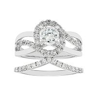 Boston Bay Diamonds 14k White Gold 1 1/6 Carat T.W. IGL Certified Diamond Bypass Engagement Ring Set