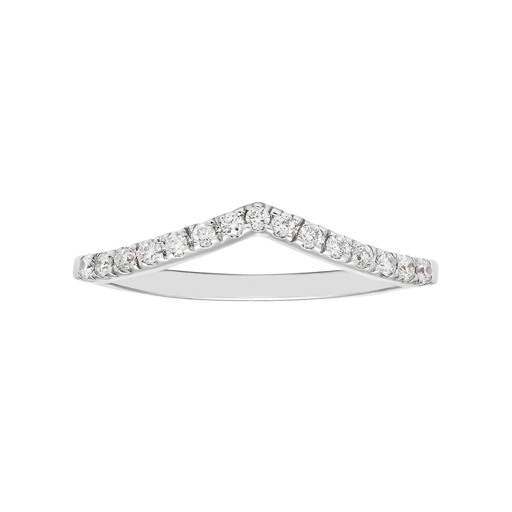 Boston Bay Diamonds 14k White Gold 1/6 Carat T.W. IGL Certified Diamond Chevron Wedding Ring