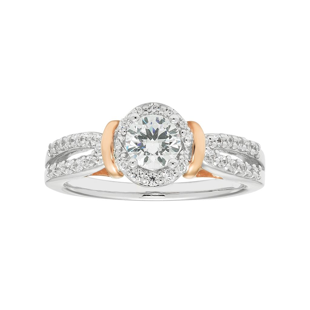 Boston Bay Diamonds Two Tone 14k Gold 3/4 Carat T.W. IGL Certified Diamond Halo Engagement Ring