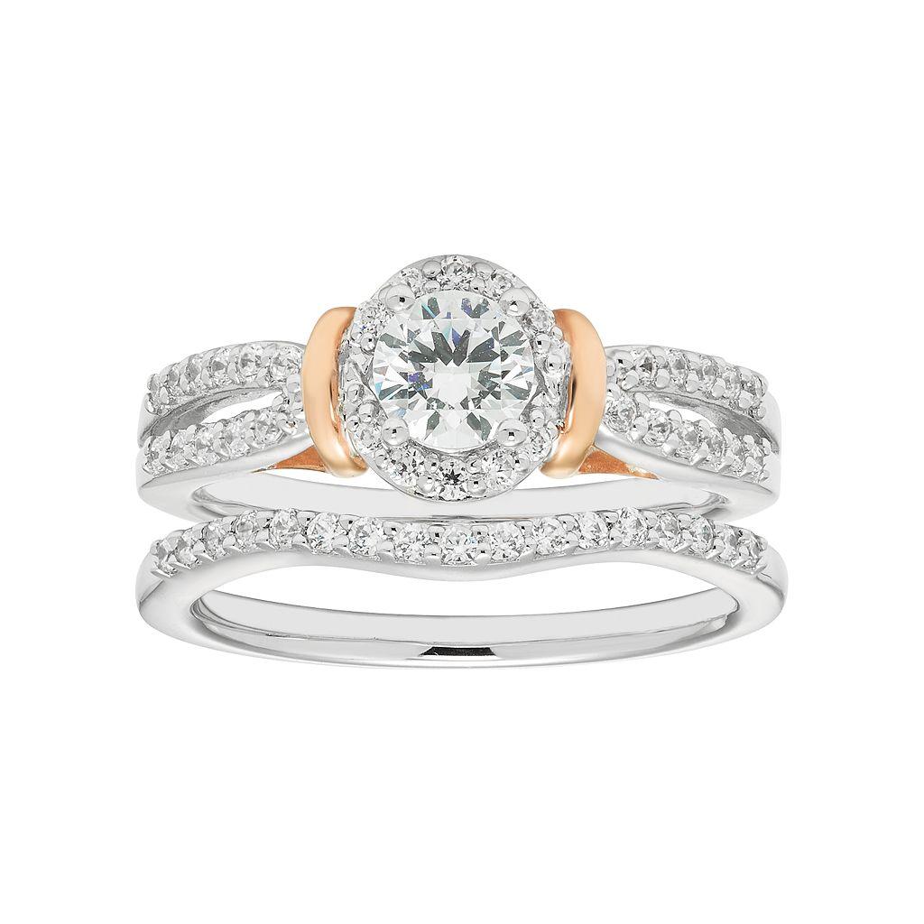 Boston Bay Diamonds Two Tone 14k Gold 3/4 Carat T.W. IGL Certified Diamond Halo Engagement Ring Set