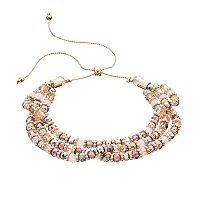 Beaded Multi Row Lariat Bracelet