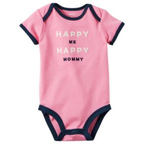 """Baby Girl Carter's """"Happy Me Happy Mommy"""" Embroidered Graphic Bodysuit"""