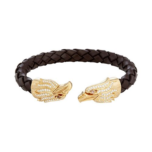 Men's Stainless Steel & Brown Leather Cubic Zirconia Eagle Cuff Bracelet