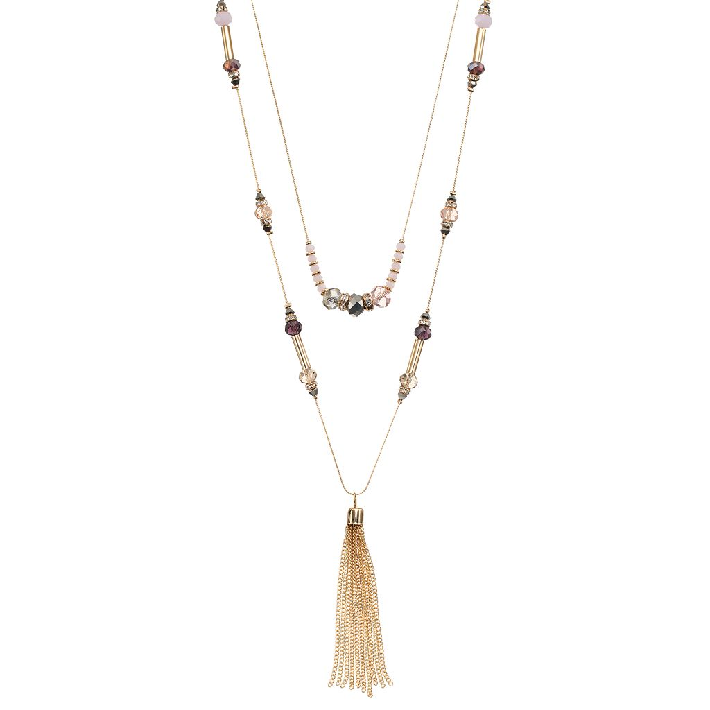 Beaded Double Strand Tassel Necklace