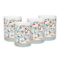 Culver Frosted Christmas Lights 4-pc. Double Old-Fashioned Glass Set