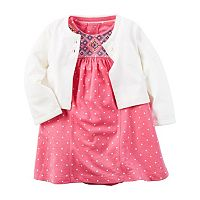 Baby Girl Carter's Flutter Sleeve Polka-Dot Bodysuit Dress & Pocket Cardigan Set