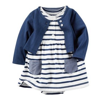 Baby Girl Carter's Striped Bodysuit Dress & Cardigan Set
