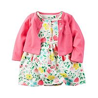 Baby Girl Carter's French Terry Floral Bodysuit Dress & Pocket Cardigan Set
