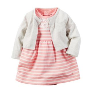 Baby Girl Carter's French Terry Crochet Lace Striped Bodysuit Dress & Cardigan Set
