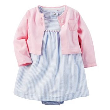 Baby Girl Carter's Striped Pom-Pom Trim Bodysuit Dress & Cardigan Set