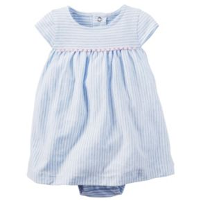 Baby Girl Carter's Striped Pom-Pom Trim Bodysuit Dress & Cardigan Set