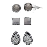 Glittery Teardrop & Square Nickel Free Stud Earring Set