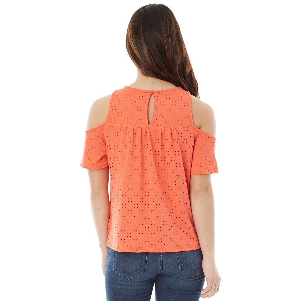 Juniors' IZ Byer Eyelet Cold Shoulder Top