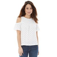 Juniors' IZ Byer California Eyelet Cold Shoulder Top