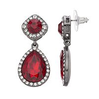 Simulated Crystal Halo Square & Teardrop Earrings