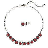 Simulated Crystal Square Halo Necklace & Stud Earring Set