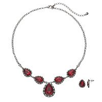 Simulated Crystal Teardrop Necklace & Earring Set