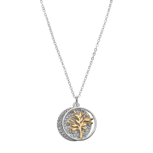 Silver Expressions by LArocks Two Tone Crystal Family Tree Disc Pendant