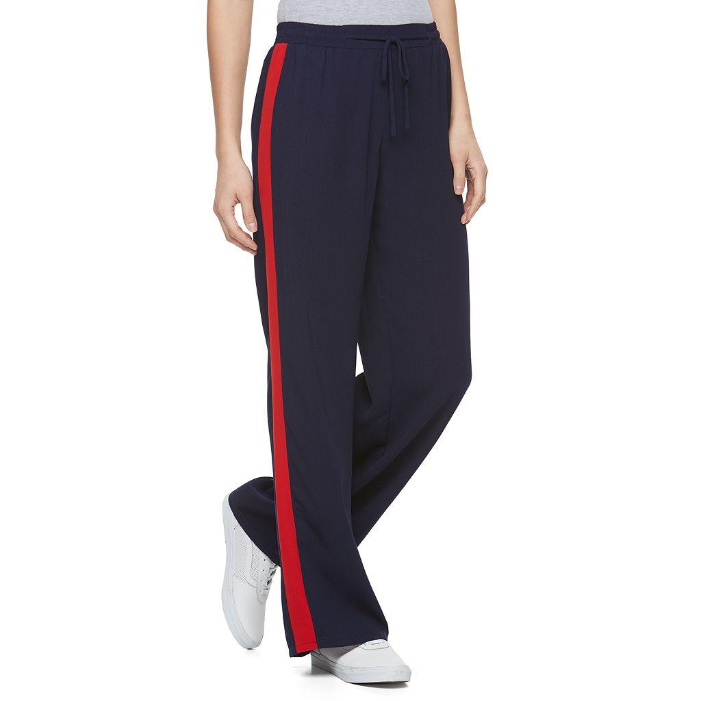 Juniors' Joe B Varsity Stripe Crepe Track Pants