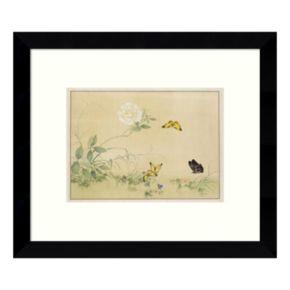White Rose & Butterflies Framed Wall Art