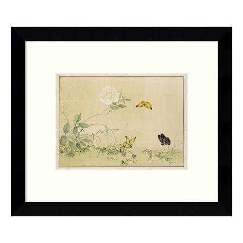White Rose & Butterflies Framed Wall Art