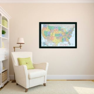 2016 United States Map, Classic Physical Framed Wall Art