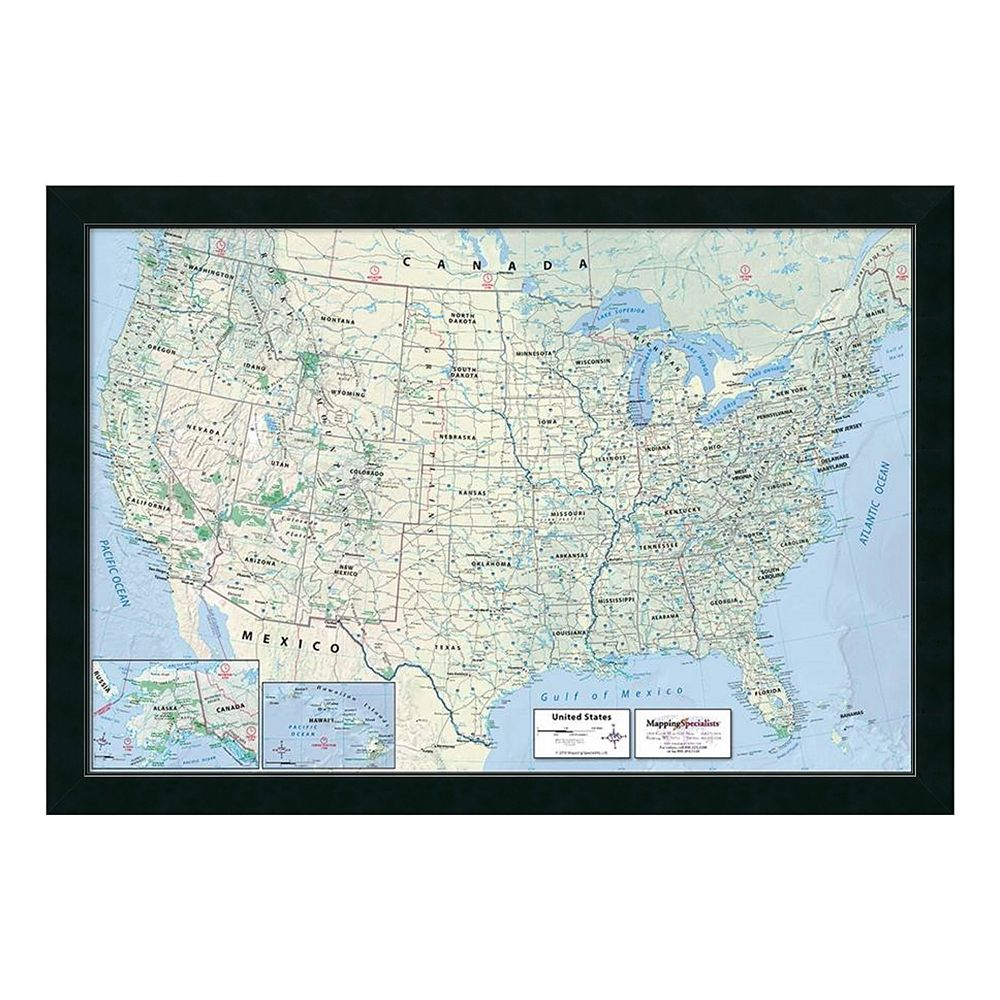 United States Map Classic Political Framed Wall Art - Us political map 2016