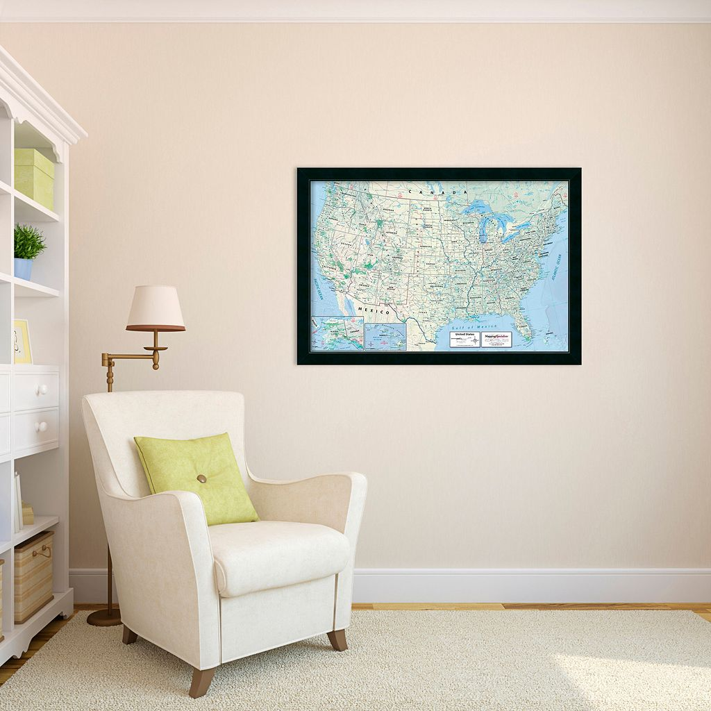 2016 United States Map, Classic Political Framed Wall Art