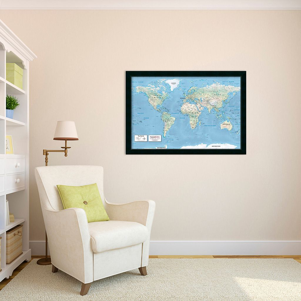 2016 World Map, Classic Political Framed Wall Art