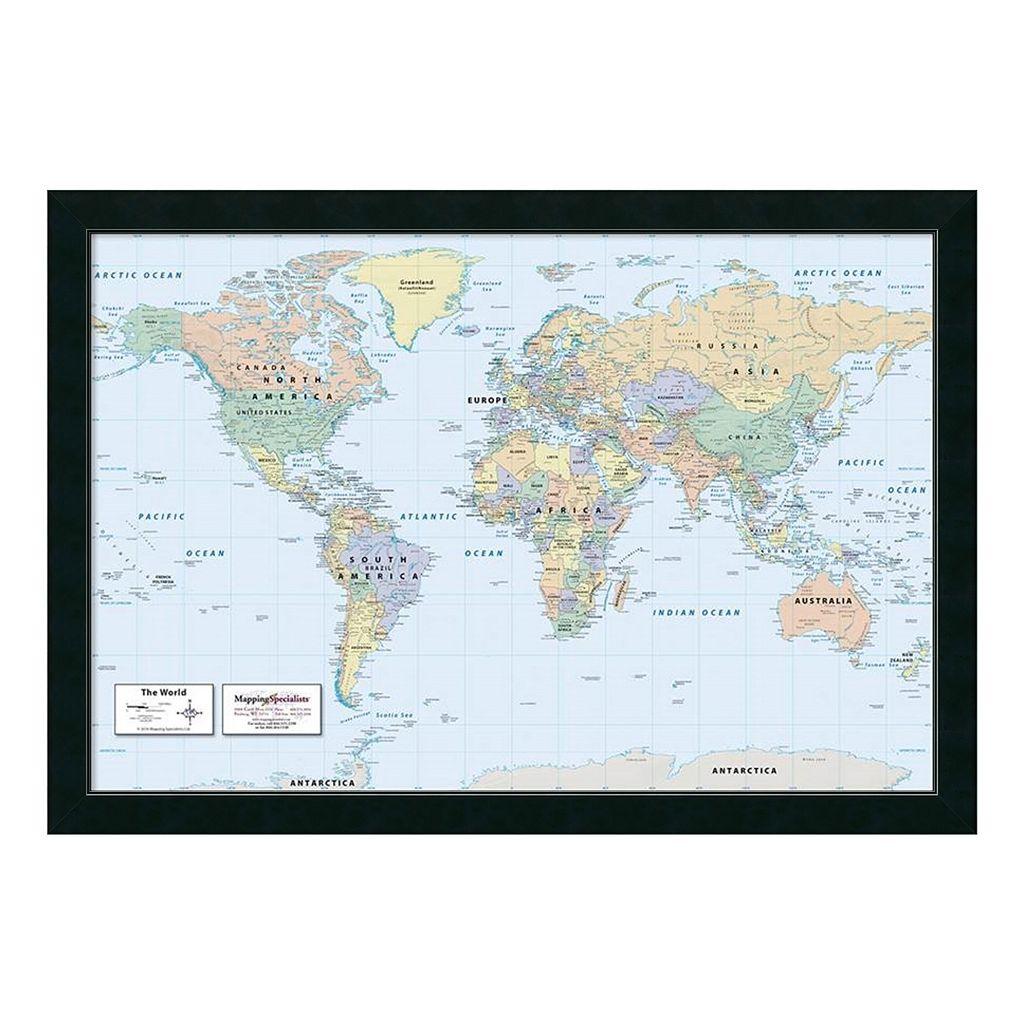 2016 World Map, Classic Physical Framed Wall Art