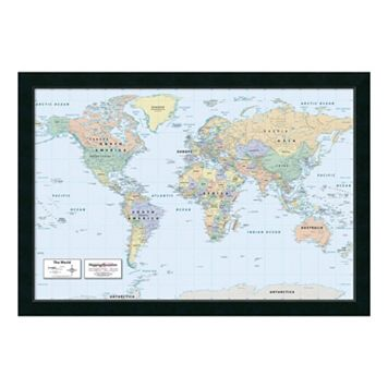 2016 World Map, Classic Physical Framed Wall Art