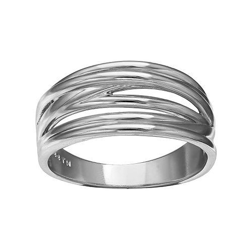 Sterling Silver Multi Row Crisscross Ring