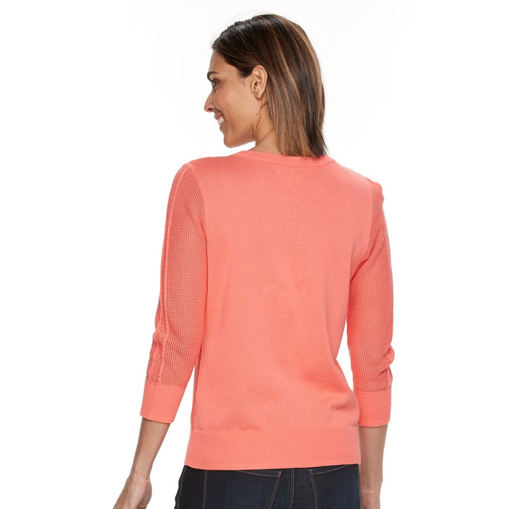 Women's Croft & Barrow® Essential Pointelle Cardigan