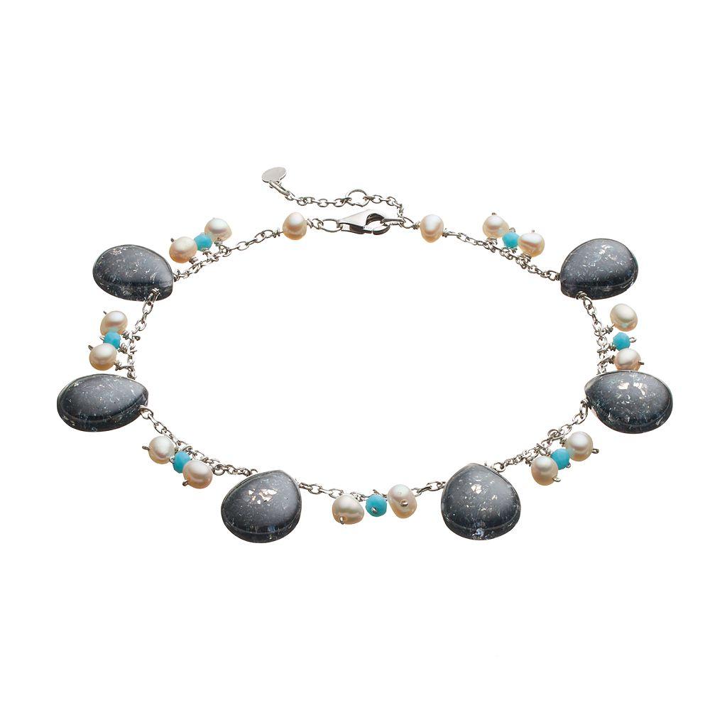 Sterling Silver Gemstone Charm Bracelet