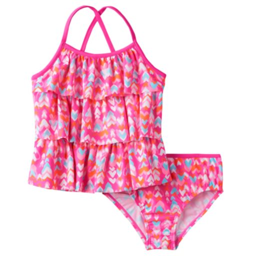 Girls 4-6x OshKosh B'gosh® Multi-Heart Print Tankini Top & Bottoms Swimsuit Set